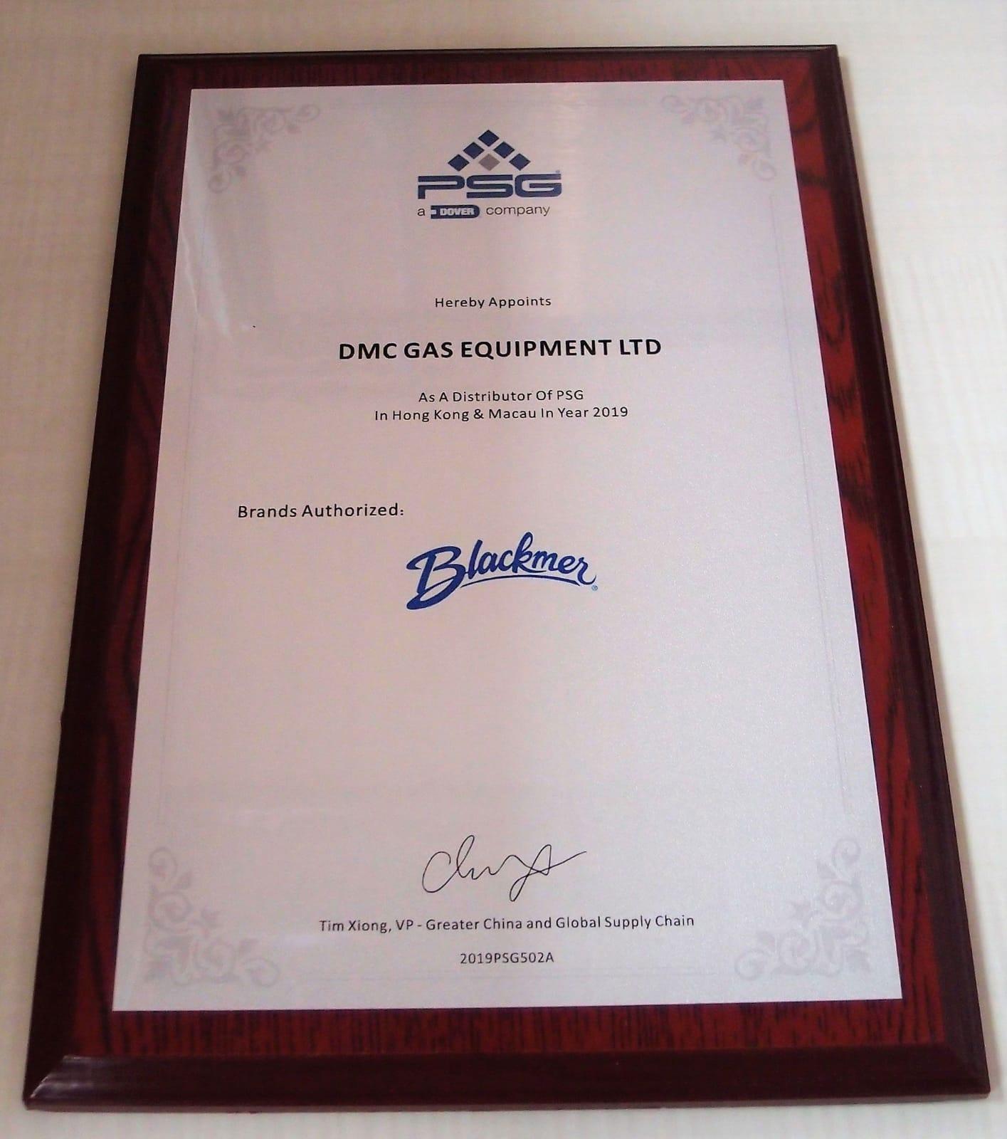 Blackmer - Certificate of Distributor of PSG